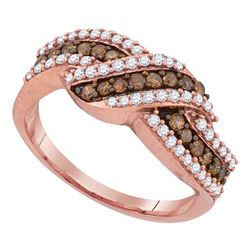 0.75 CTW Cognac-brown Color Diamond Crossover Ring 10KT Rose Gold - REF-44M9H