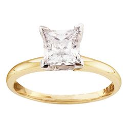 0.16 CTW Princess Diamond Solitaire Bridal Engagement Ring 14KT Yellow Gold - REF-22X4Y