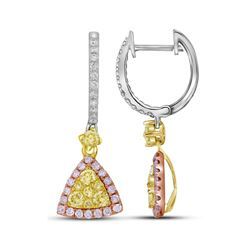 1.06 CTW Yellow Pink Diamond Triangle Dangle Earrings 14KT White Gold - REF-112M5H