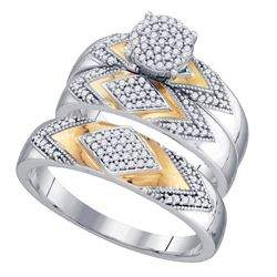 0.40 CTW His & Hers Diamond Cluster Matching Bridal Ring 10KT Two-tone Gold - REF-49K5W