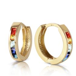 Genuine 1.30 ctw Multi-Color Sapphire Earrings Jewelry 14KT Yellow Gold - REF-42N6R