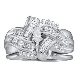 0.50 CTW Marquise Diamond Bridal Engagement Ring 14KT White Gold - REF-82H4M
