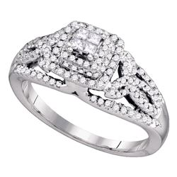 0.50 CTW Princess Diamond Cluster Bridal Engagement Ring 14KT White Gold - REF-67Y4X