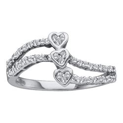 0.25 CTW Diamond Triple Trinity Heart Openwork Ring 14KT White Gold - REF-20H9M