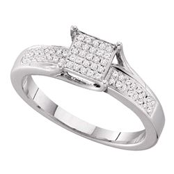 0.15 CTW Diamond Square Cluster Ring 10KT White Gold - REF-22N4F