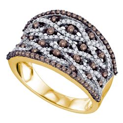 0.99 CTW Cognac-brown Color Diamond Fashion Ring 10KT Yellow Gold - REF-67N4F