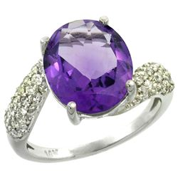Natural 6.45 ctw amethyst & Diamond Engagement Ring 14K White Gold - REF-54A3V