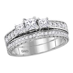 1.01 CTW Princess Diamond 3-Stone Bridal Engagement Ring 14KT White Gold - REF-134H9M
