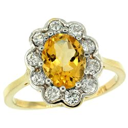 Natural 2.34 ctw Citrine & Diamond Engagement Ring 14K Yellow Gold - REF-81K4R