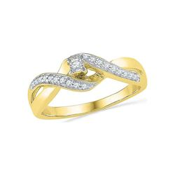 0.20 CTW Diamond Solitaire Crossover Promise Bridal Ring 10KT Yellow Gold - REF-22W4K