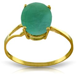 Genuine 2.9 ctw Emerald Ring Jewelry 14KT Yellow Gold - REF-44V3W