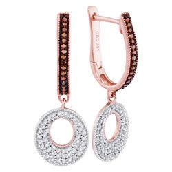 0.41 CTW Red Color Diamond Circle Dangle Hoop Earrings 10KT Rose Gold - REF-41K9W