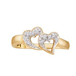 0.07 CTW Diamond Double Heart Love Ring 10KT Yellow Gold - REF-12W2K