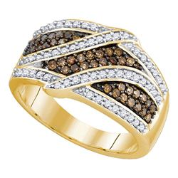 0.72 CTW Brown Color Diamond Ring 10KT Yellow Gold - REF-59Y9X