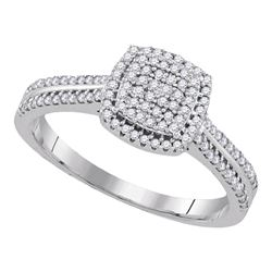 0.33 CTW Diamond Square Cluster Ring 10KT White Gold - REF-31N4F