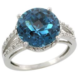 Natural 5.34 ctw London-blue-topaz & Diamond Engagement Ring 14K White Gold - REF-46G9M