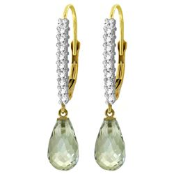 Genuine 4.8 ctw Green Amethyst & Diamond Earrings Jewelry 14KT Yellow Gold - REF-53P2H