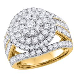 3.03 CTW Diamond Flower Cluster Bridal Engagement Ring 14KT Yellow Gold - REF-277K4W