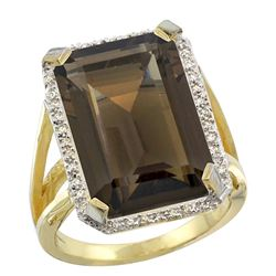 Natural 13.72 ctw Smoky-topaz & Diamond Engagement Ring 10K Yellow Gold - REF-65X2A
