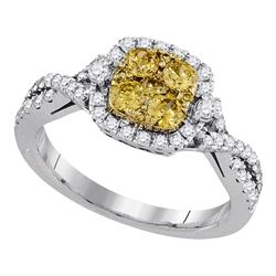 0.98 CTW Natural Canary Yellow Diamond Square Cluster Ring 14KT White Gold - REF-104K9W