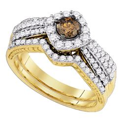 1.15 CTW Cognac-brown Diamond Bridal Wedding Engagement Ring 14KT Yellow Gold - REF-127K4W
