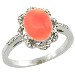 Natural 2.09 ctw Coral & Diamond Engagement Ring 14K White Gold - REF-37F3N