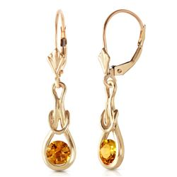 Genuine 1.30 ctw Citrine Earrings Jewelry 14KT Yellow Gold - REF-49V3W