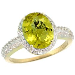 Natural 2.56 ctw Lemon-quartz & Diamond Engagement Ring 10K Yellow Gold - REF-31Z9Y
