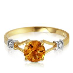 Genuine 1.02 ctw Citrine & Diamond Ring Jewelry 14KT Yellow Gold - REF-28X3M