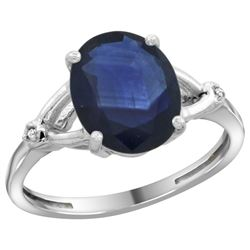 Natural 2.41 ctw Blue-sapphire & Diamond Engagement Ring 14K White Gold - REF-94Y6X