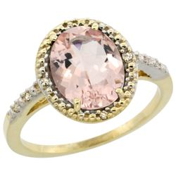 Natural 2.92 ctw Morganite & Diamond Engagement Ring 10K Yellow Gold - REF-49Y8X