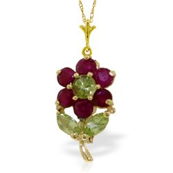 Genuine 1.06 ctw Peridot & Ruby Necklace Jewelry 14KT Yellow Gold - REF-26P9H