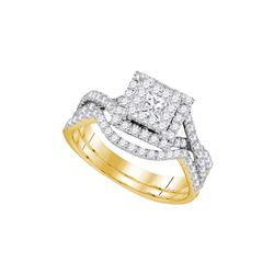 0.84 CTW Princess Diamond Bridal Engagement Ring 14KT Yellow Gold - REF-104H9M
