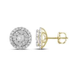 0.98 CTW Diamond Circle Cluster Earrings 14KT Yellow Gold - REF-112N5F