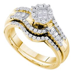 0.63 CTW Princess Diamond Soleil Bridal Engagement Ring 14KT Yellow Gold - REF-82F4N
