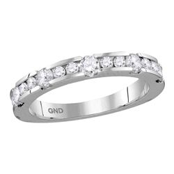 0.75 CTW Machine-set Diamond Ring 14KT White Gold - REF-89N9F
