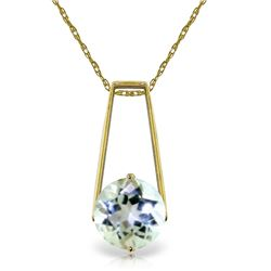 Genuine 1.45 ctw Aquamarine Necklace Jewelry 14KT Yellow Gold - REF-27V6W
