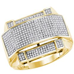 0.63 CTW Mens Diamond Arched Rectangle Cluster Ring 10KT Yellow Gold - REF-79M4H