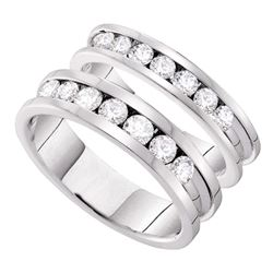 1.55 CTW His & Hers Diamond Matching Bridal Ring 14KT White Gold - REF-209K9W