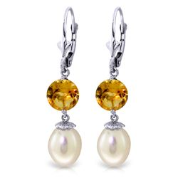 Genuine 11.10 ctw Pearl & Citrine Earrings Jewelry 14KT White Gold - REF-26X6M