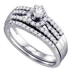 0.51 CTW Diamond Halo Bridal Engagement Ring 14KT White Gold - REF-71Y9X