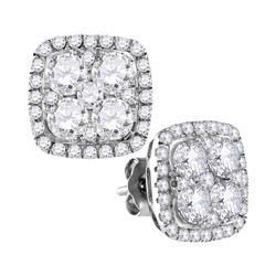 2.6 CTW Diamond Square Cluster Earrings 10KT White Gold - REF-299Y5X