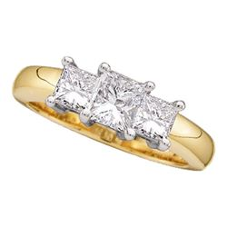 0.96 CTW Princess Diamond 3-stone Bridal Engagement Ring 14KT Yellow Gold - REF-131Y2X