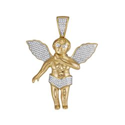 0.55 CTW Diamond Mens Angel Cherub Pendant 10KT Yellow Gold - REF-104N9F