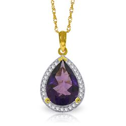 Genuine 3.41 ctw Amethyst & Diamond Necklace Jewelry 14KT Yellow Gold - REF-69Z6N