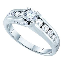 1 CTW Diamond Solitaire Bridal Engagement Ring 14KT White Gold - REF-112Y5X
