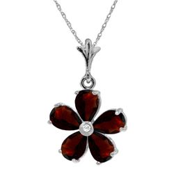 Genuine 2.22 ctw Garnet & Diamond Necklace Jewelry 14KT White Gold - REF-30Z2N