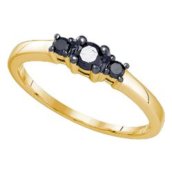 0.27 CTW Black Color Diamond 3-stone Bridal Ring 10KT Yellow Gold - REF-10H5M