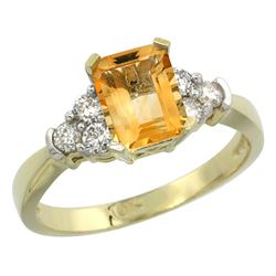 Natural 1.48 ctw citrine & Diamond Engagement Ring 10K Yellow Gold - REF-43R3Z