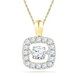 0.26 CTW Diamond Square Moving Twinkle Pendant 10KT Yellow Gold - REF-30N2F